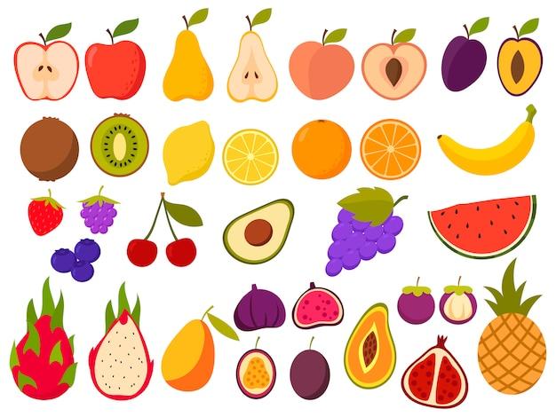 Zestaw zdrowych owoców. zbiór soczystych naturalnych owoców tropikalnych. produkty organiczne.
