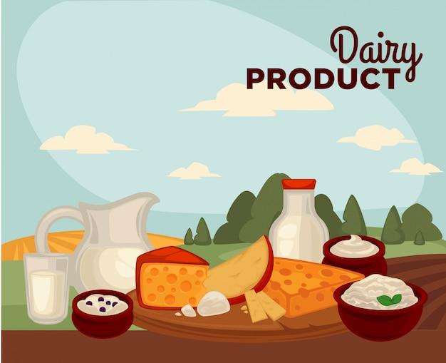 Zestaw zdrowych produktów mlecznych
