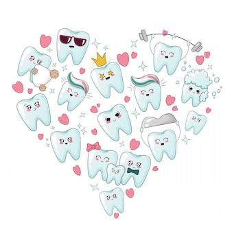 Zestaw zdrowych zębów kawaii z różnymi emoji, kształt serca