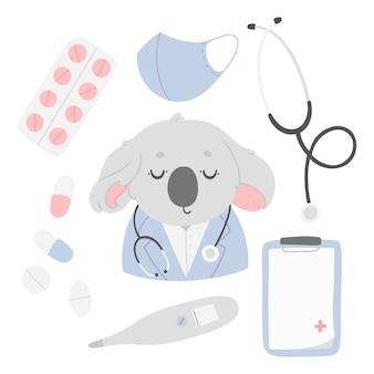 Zestaw ze słodkim lekarzem pigułki koala leki termometr tablet na dokumenty maska medyczna stetoskop