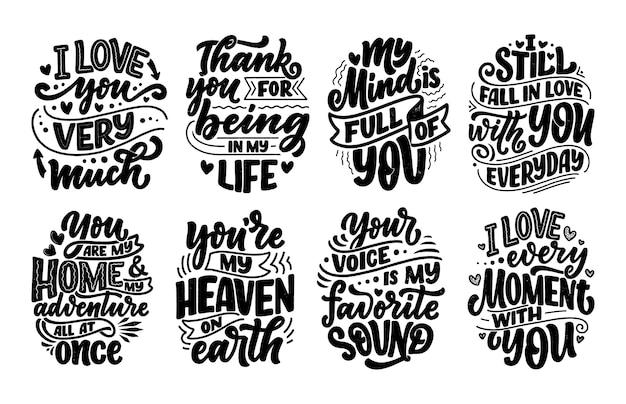 Zestaw ze sloganami o miłości w pięknym stylu.