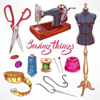 Zestaw ze sprzętem krawieckim szkicu. manekin, szycie, maszyna do szycia. ręcznie rysowane ilustracji
