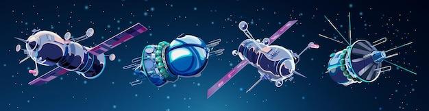 Zestaw ze statkami kosmicznymi i satelitami w kosmosie. program historii kosmosu, ludzka eksploracja bliskiej przestrzeni. kolekcja z modelami 3d latającymi statkami kosmicznymi.