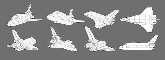 Zestaw ze statkiem kosmicznym, promem kosmicznym. kolekcja z widokami 3d stary statek kosmiczny, samolot