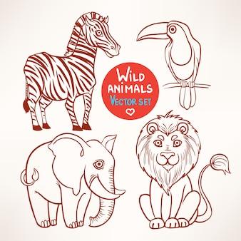 Zestaw ze szkicem czterech uroczych zwierząt dzikiej dżungli