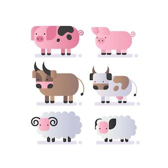Zestaw ze zwierzętami gospodarskimi świnia krowa byk owca kolorowa ilustracja na białym tle