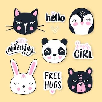 Zestaw ze zwierzętami rysunkowymi - niedźwiedziem, pandą, króliczkiem, pingwinem, kotem.