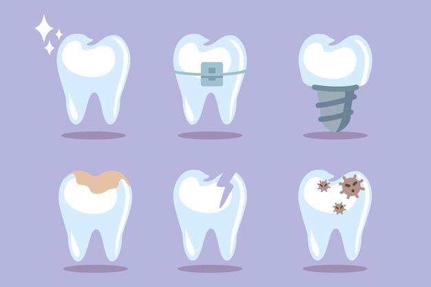 Zestaw zębów ząb ikony niebieskie tło koncepcja dentystyczna do projektowania higiena jamy ustnej czyszczenie zębów