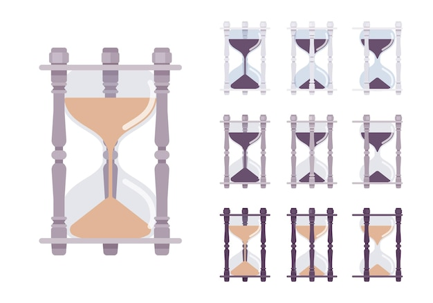 Zestaw Zegara Klepsydrowego Premium Wektorów