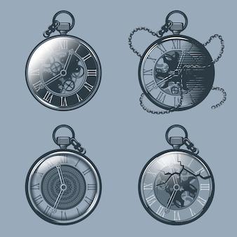 Zestaw zegarków kieszonkowych vintage
