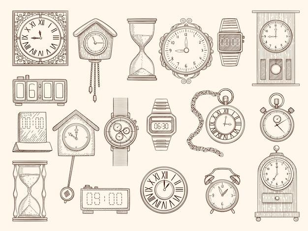Zestaw zegarków. rysowanie zegarów zegary alarmuje kolekcję zdjęć.