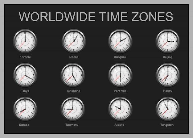 Zestaw zegarów pokazujących czas międzynarodowy. światowe strefy czasowe. ilustracja
