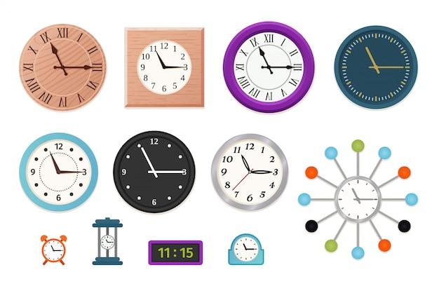 Zestaw zegarów ściennych,