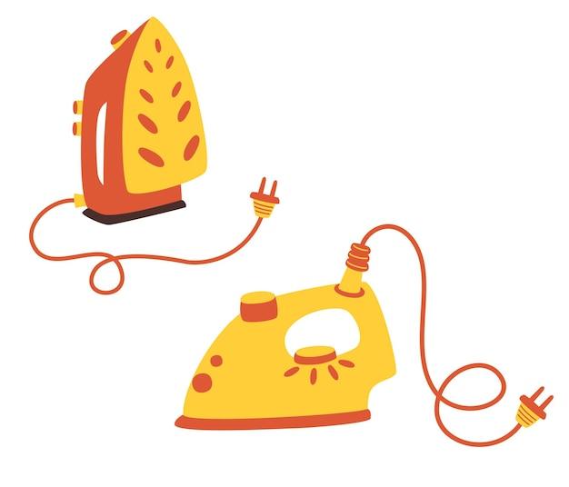 Zestaw żelazek do tkanin. przybory elektryczne. urządzenie do prasowania odzieży.
