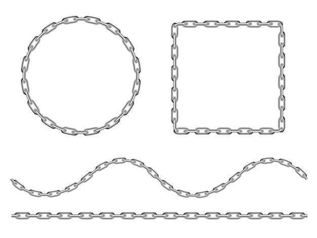 Zestaw żelaznych łańcuchów kotwicznych narysowanych w stylu grawerowania.