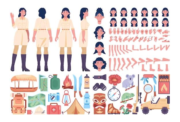 Zestaw żeński przewodnik wyprawy po dżungli. artykuły turystyczne i turystyczne. zwierzęta z dżungli