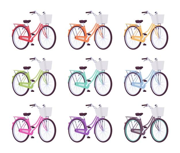 Zestaw żeńskich rowerów w różnych kolorach