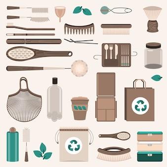 Zestaw zero waste. torby wielokrotnego użytku, szczotki i butelki, szklane słoiki, eko-torby, drewniane sztućce, grzebienie, szczoteczki do zębów, kubek menstruacyjny, kubek termiczny.