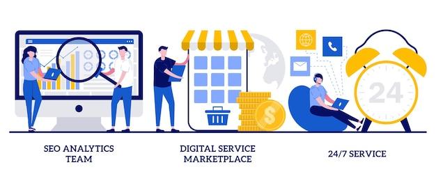 Zestaw zespołu analityków seo, rynek usług cyfrowych, usługa 24 7