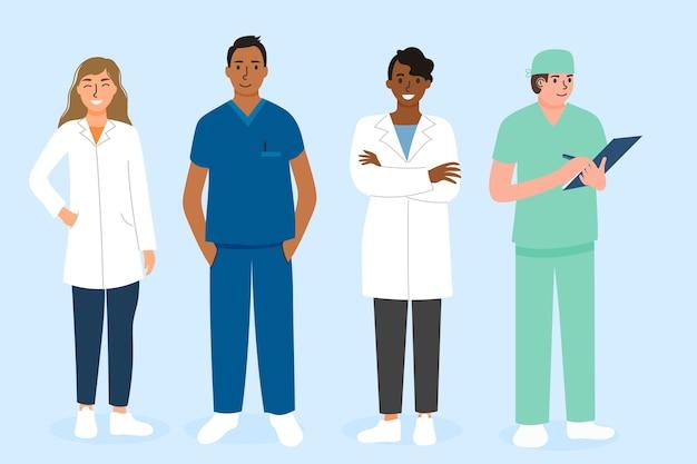 Zestaw zespołu pracowników służby zdrowia
