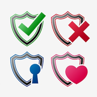 Zestaw zestaw ikon tarczy bezpieczeństwa