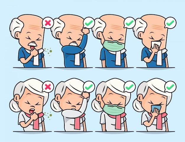 Zestaw zestaw ilustracji przedstawiających postać dziadka i babci z prawidłowym zakrywaniem ust podczas kaszlu lub kichania.