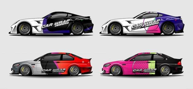 Zestaw zestawu graficznego pojazdu. nowoczesne abstrakcyjne tło dla brandingu okładów samochodowych i barwienia naklejek samochodowych