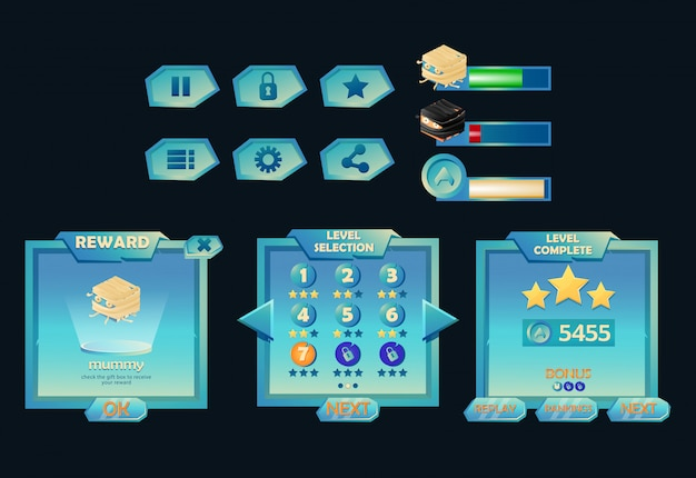 Zestaw zestawu interfejsu użytkownika gry fantasy