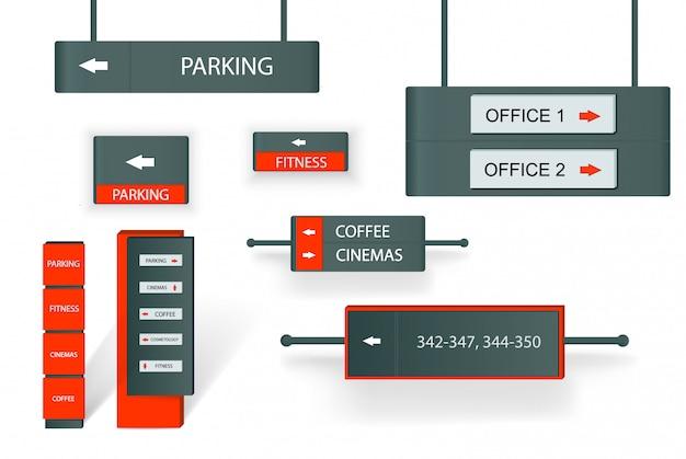Zestaw zewnętrznych i wewnętrznych znaków reklamowych.