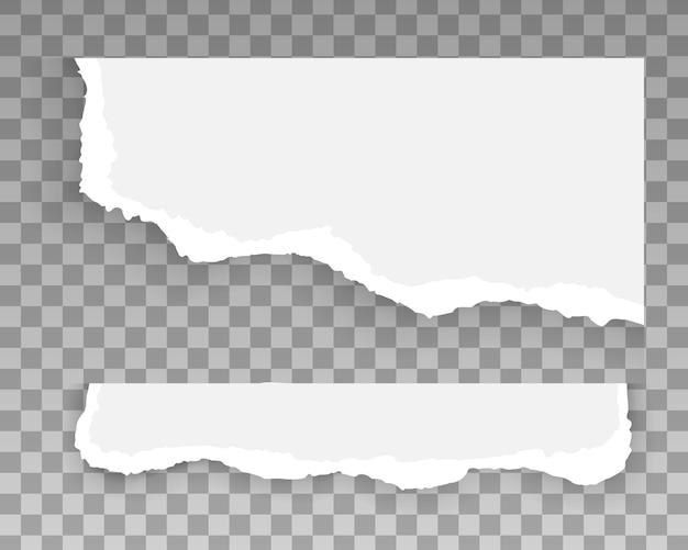 Zestaw zgranych i podartych pasków papieru, kawałków poszarpanych, szablon projektu baneru do sieci i druku, reklamy, prezentacji. białe i szare realistyczne poziome paski papieru z miejscem na tekst.