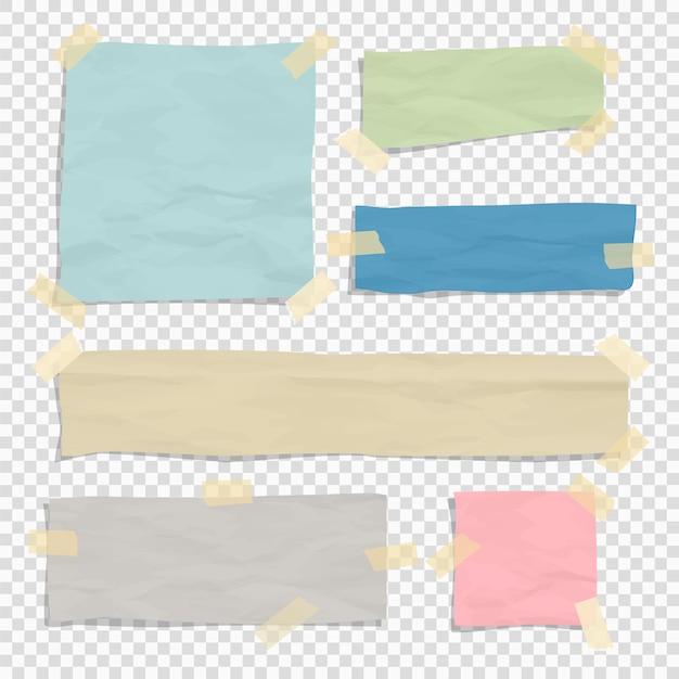 Zestaw zgranych kawałków papieru