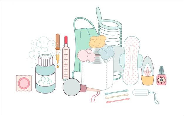 Zestaw zgrupowanych elementów higienicznych