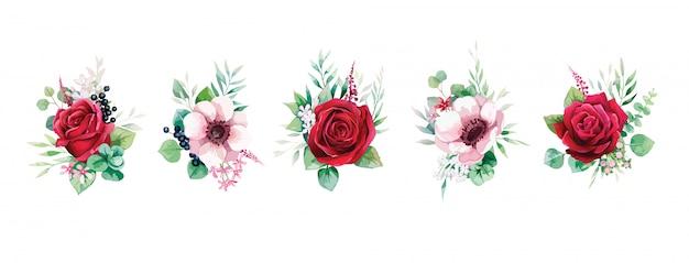 Zestaw zieleni i bukiety czerwonych kwiatów róży na zaproszenie na ślub lub kartkę z życzeniami.