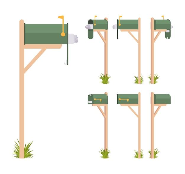 Zestaw zielona skrzynka pocztowa zestaw na białym tle