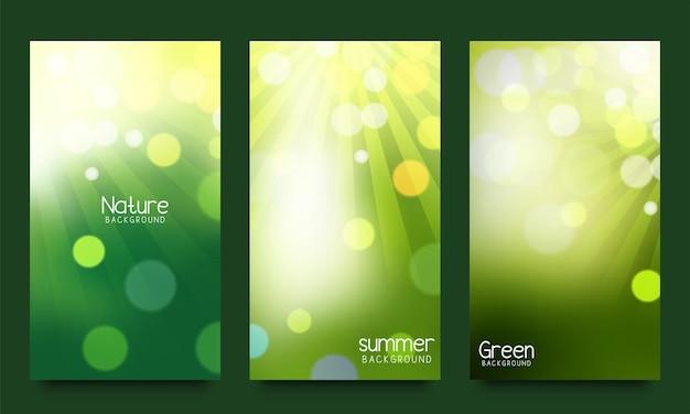 Zestaw zielonego naturalnego tła