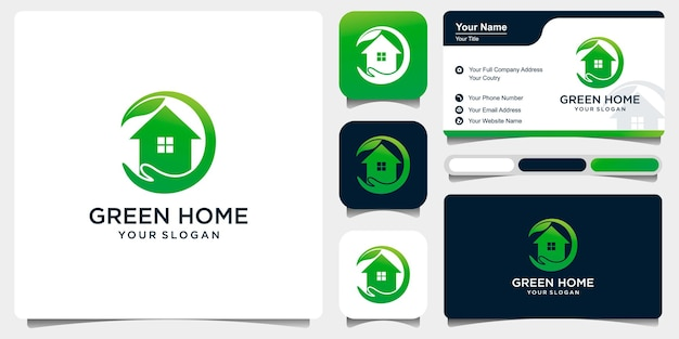 Zestaw zielonej pielęgnacji domowej z połączeniem dłoni i domu. szablon logo dla firmy premium wektor