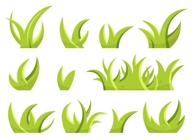 Zestaw zielonej trawy i liści w stylu kreskówki