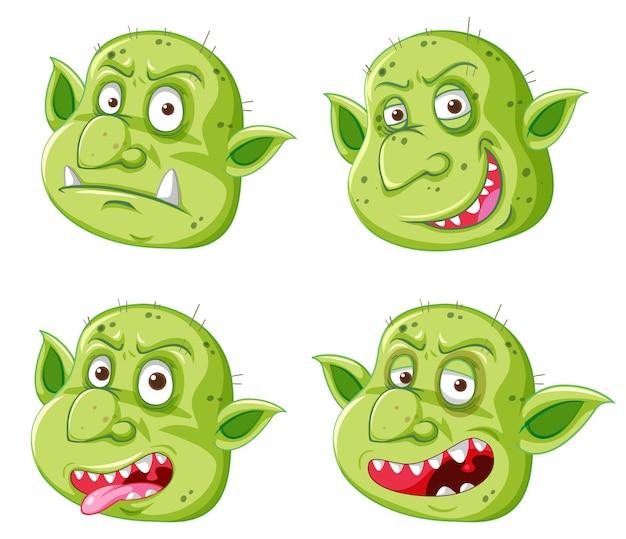 Zestaw zielonej twarzy goblina lub trolla w różnych wyrażeniach w stylu cartoon na białym tle