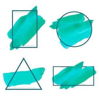 Zestaw zielony akwarela transparent wektor