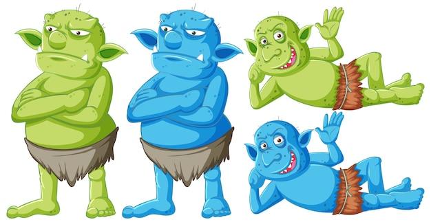 Zestaw zielony i niebieski goblin lub troll stojący i leżący z różnymi twarzami w postać z kreskówki na białym tle