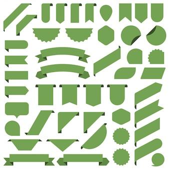 Zestaw zielony puste transparenty wstążki.