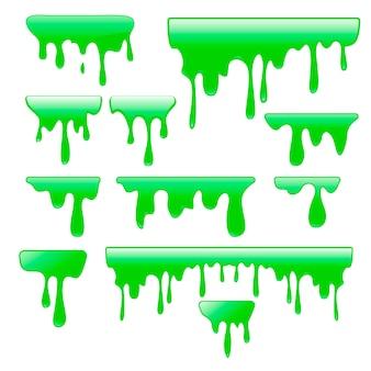 Zestaw zielony szlam. zbiór plam, odprysków