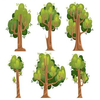 Zestaw zielonych drzew. letnie drzewa w stylu. ilustracja na białym tle. strona internetowa i aplikacja mobilna
