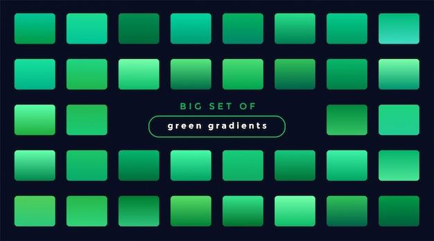 Zestaw zielonych gładkich gradientów
