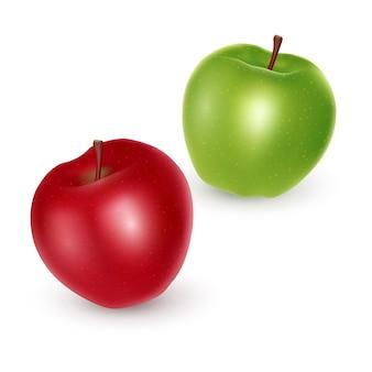 Zestaw zielonych i czerwonych jabłek