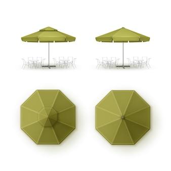 Zestaw zielonych parasolek do kawiarni na świeżym powietrzu na patio