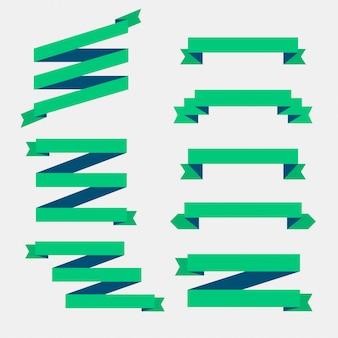 Zestaw zielonych płaskich wstążek