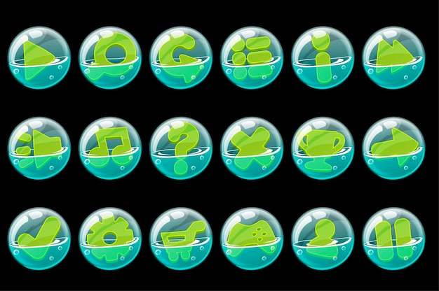 Zestaw zielonych przycisków w bańkach mydlanych dla interfejsu.