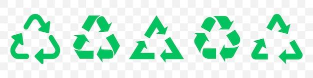 Zestaw zielonych strzałek recyklingu. ilustracja