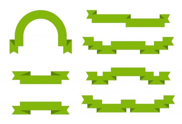 Zestaw zielonych wstążek